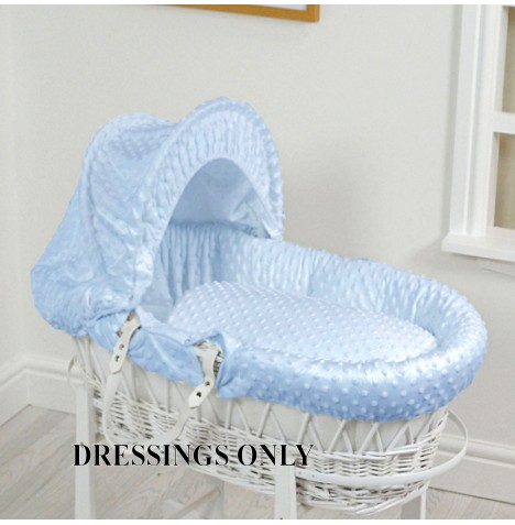 4baby Wicker Moses Basket 3 Piece Dressing Set - Blue Dimple