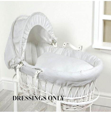4baby Wicker Moses Basket Dressings - Grey Waffle