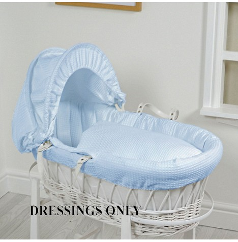 4baby Wicker Moses Basket Dressings - Blue Waffle