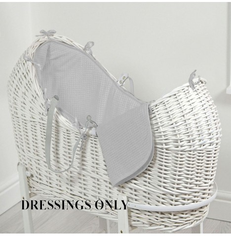 4baby Wicker Snooze Pod Dressings - Grey Waffle