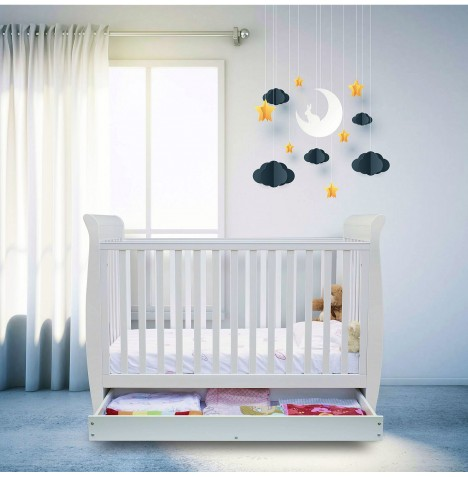 Ickle Bubba Luna 3 In 1 Cot Bed With Storage Drawer & Corovin Mattress - Classic White