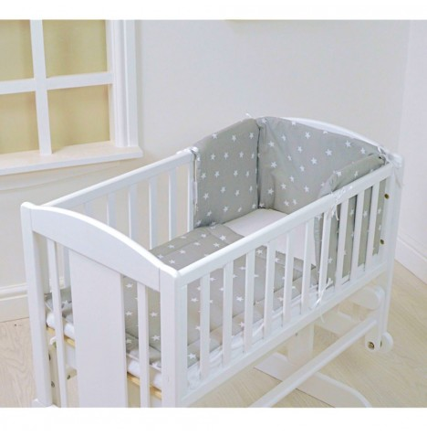 4baby Rocking Crib / Cradle Quilt & Bumper Set - Grey / White Stars