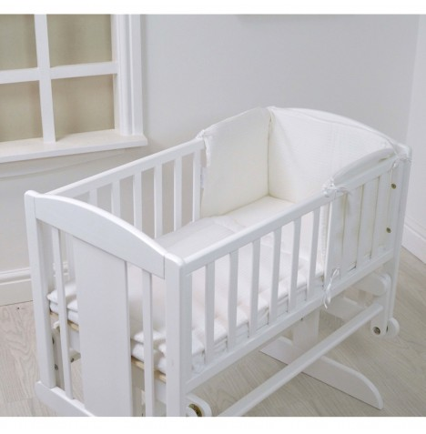 4baby Rocking Crib / Cradle Quilt & Bumper Set - White Waffle