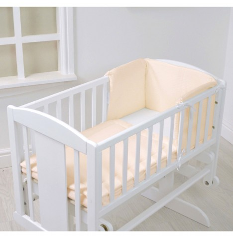 4baby Rocking Crib / Cradle Quilt & Bumper Set - Cream Waffle