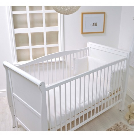 4baby Cot / Cot Bed Quilt & Bumper Set - White Waffle