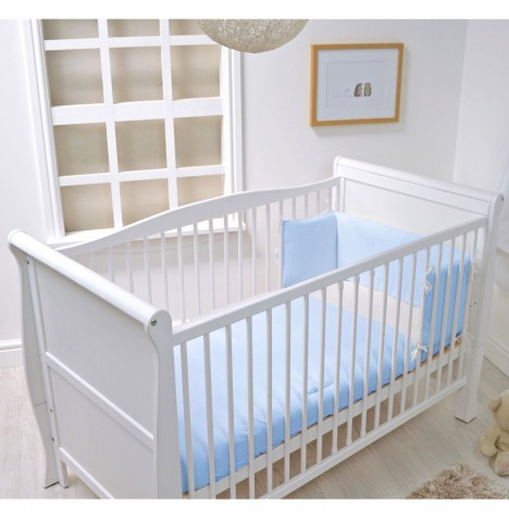 4baby Cot / Cot Bed Quilt & Bumper Set - Blue Waffle