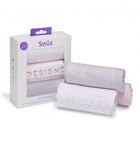 Snuz 3 Piece Crib Bedding Set - Rose Wave