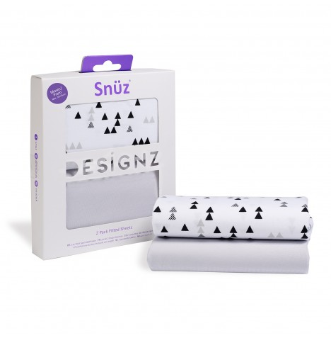 Snuz Moses Basket / Pram Fitted Sheets (2 Pack) - Geo Mono