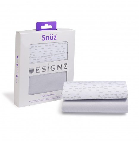 Snuz Crib Fitted Sheets (2 Pack) - Mono Wave