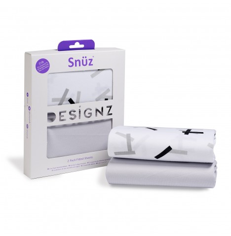 Snuz Crib Fitted Sheets (2 Pack) - Geo Mono