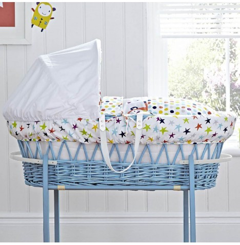 Clair De Lune Padded Blue Wicker Moses Basket - Tiddlywinks
