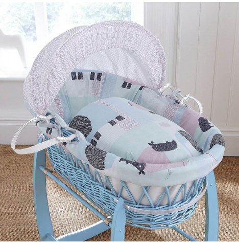 Clair De Lune Padded Blue Wicker Moses Basket - Stanley & Pip
