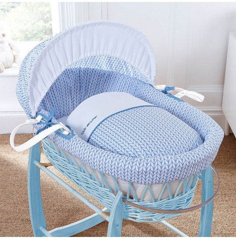 Clair De Lune Padded Blue Wicker Moses Basket - Barley Bebe Blue