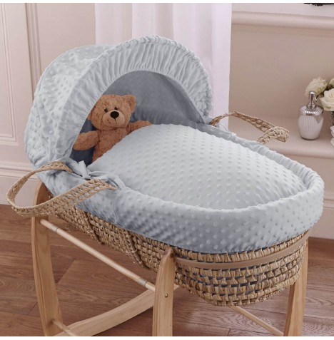 Clair De Lune Palm Moses Basket - Dimple Grey