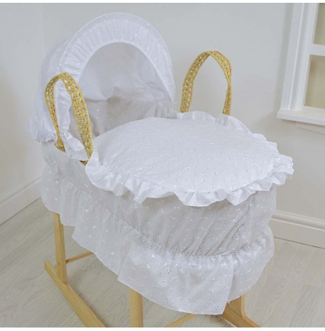 4baby Deluxe Palm Moses Basket - Broderie Anglaise White (With Frill)