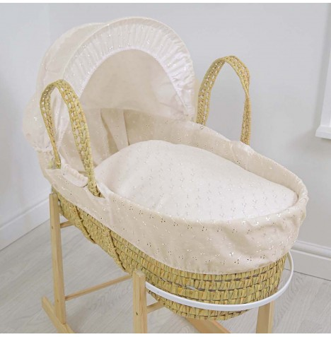 4baby Deluxe Palm Moses Basket - Broderie Anglaise Cream