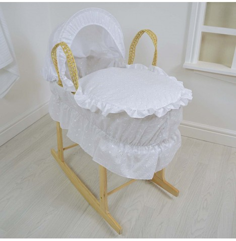 4baby Deluxe Palm Moses Basket & Rocking Stand - Broderie Anglaise White (With Frill)