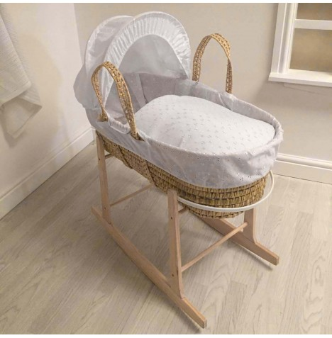 4baby Deluxe Palm Moses Basket & Rocking Stand - Broderie Anglaise White