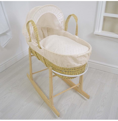 4baby Deluxe Palm Moses Basket & Rocking Stand - Broderie Anglaise Cream