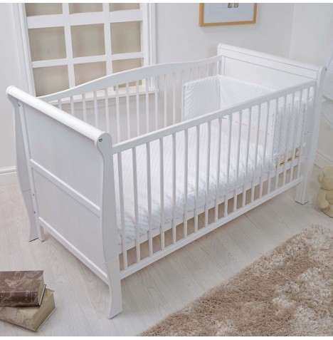4baby Cot / Cot Bed Quilt & Bumper Set - Dimple White