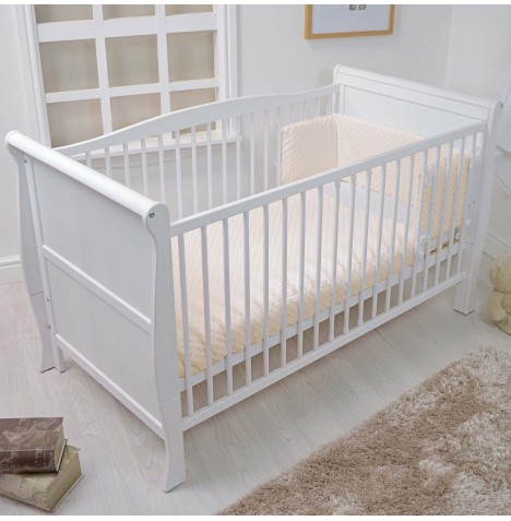 4baby Cot / Cot Bed Quilt & Bumper Set - Dimple Cream