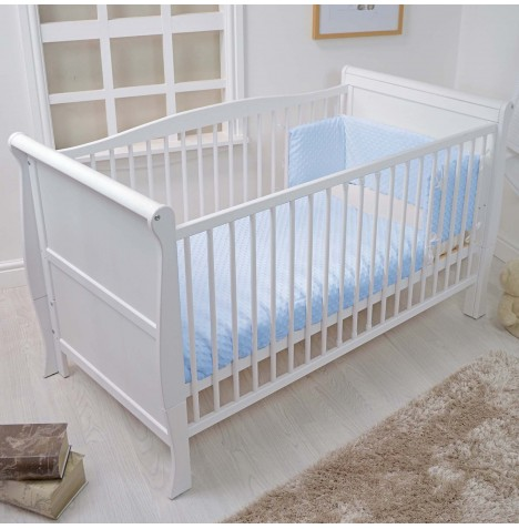 4baby Cot / Cot Bed Quilt & Bumper Set - Dimple Blue