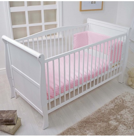 4baby Cot / Cot Bed Quilt & Bumper Set - Dimple Pink