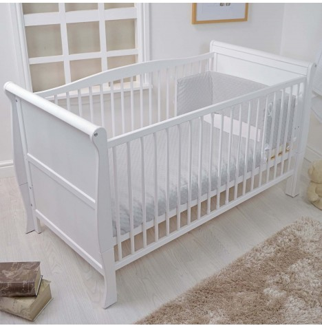 4baby Cot / Cot Bed Quilt & Bumper Set - Dimple Grey