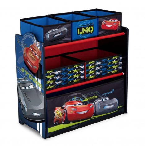 Delta Children Wooden Frame Multi-Bin Toy Organiser - Cars / CR Legends