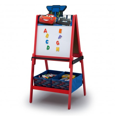 Delta Children Double Sided Wooden Art Easel With Storage - Disney Cars / CR Legends