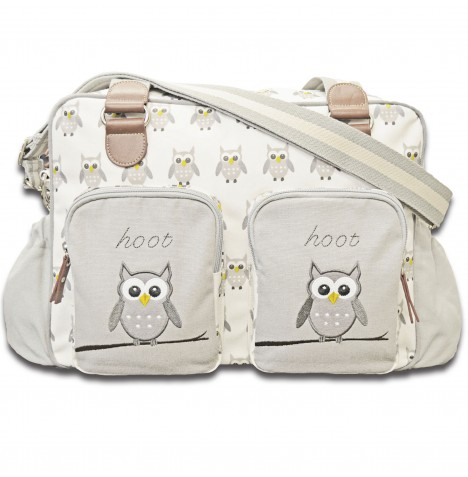4baby Designer Fashion Baby Changing Bag - Hoot Hoot Grey