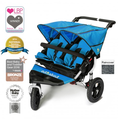 Out N About Nipper Double Pushchair - Lagoon Blue