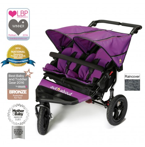 Out N About Nipper Double Pushchair - Purple Punch
