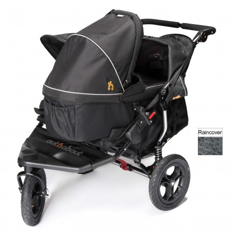 Out N About Nipper Double Pushchair & Carrycot - Raven Black