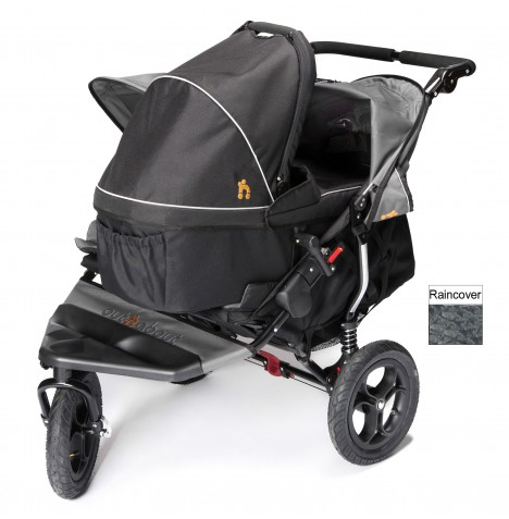 Out N About Nipper Double Pushchair & Carrycot - Steel Grey