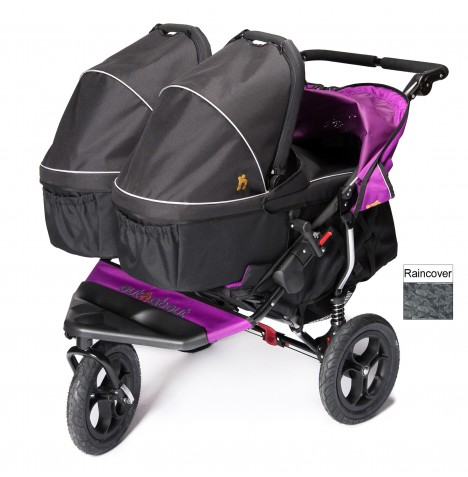 Out N About Nipper Double Pushchair & x2 Carrycots - Purple Punch