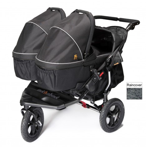 Out N About Nipper Double Pushchair & x2 Carrycots - Raven Black