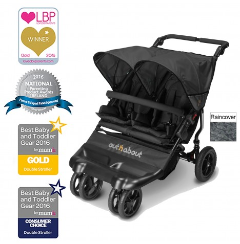 Out N About Little Nipper Double Pushchair - Jet Black