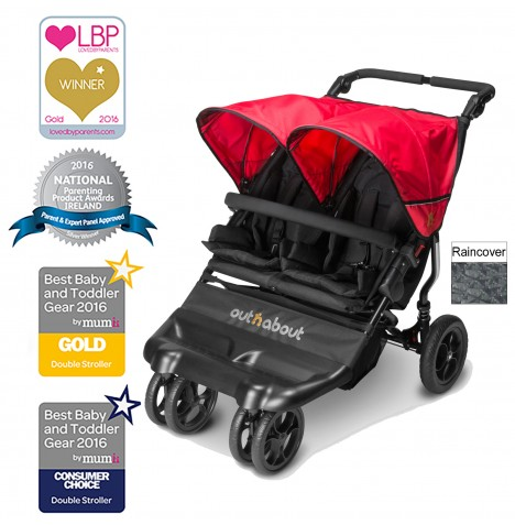 Out N About Little Nipper Double Pushchair - Poppy Red