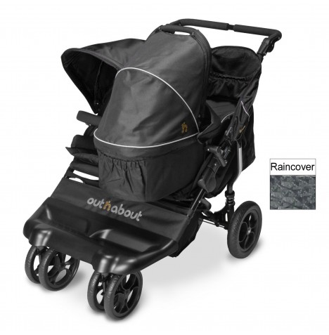 Out N About Little Nipper Double Pushchair & Carrycot - Jet Black