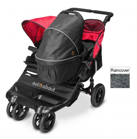 Out N About Little Nipper Double Pushchair & Carrycot - Poppy Red