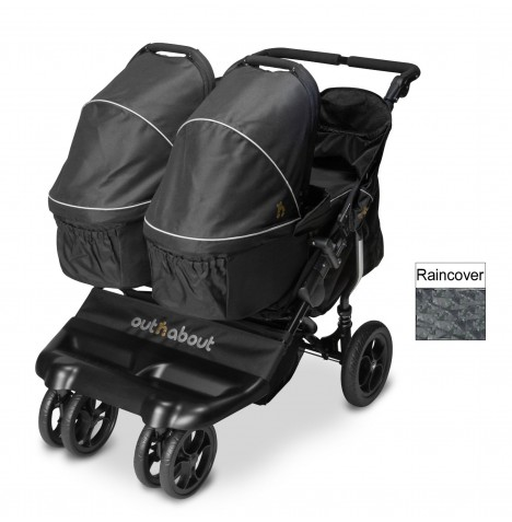 Out N About Little Nipper Double Pushchair & x2 Carrycot - Jet Black