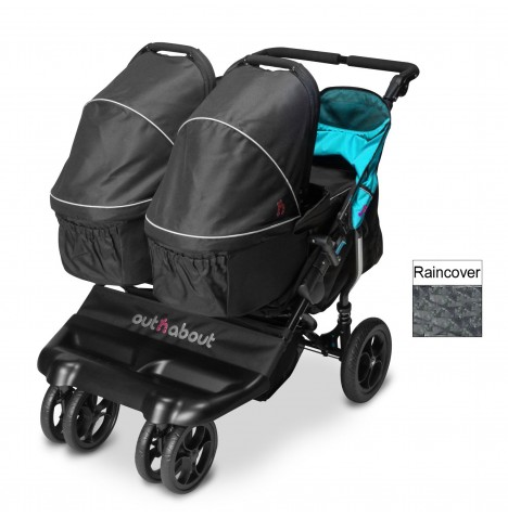 Out N About Little Nipper Double Pushchair & x2 Carrycot - Marine Blue