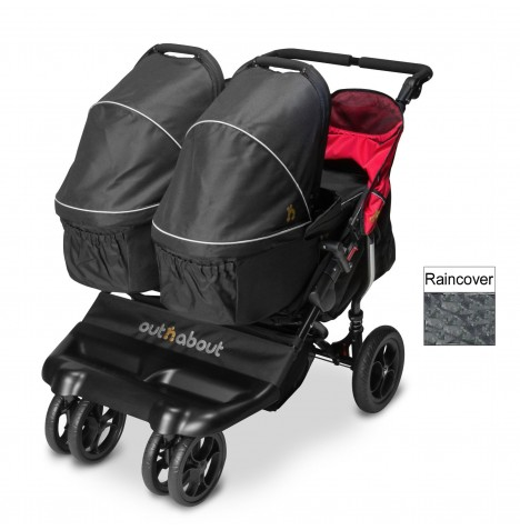 Out N About Little Nipper Double Pushchair & x2 Carrycot - Poppy Red