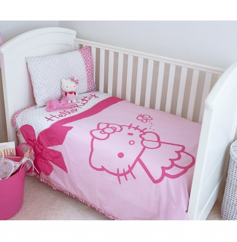 Hello Kitty Cot Duvet Cover & Pillow Case Set - Pink