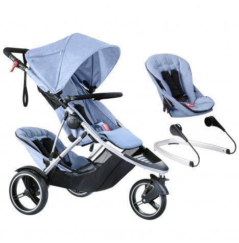 Phil & Teds Dash Tandem Pushchair + Lazyted Bouncer Adaptors - Blue Marl