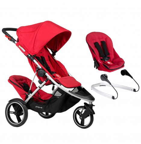Phil & Teds Dash Tandem Pushchair + Lazyted Bouncer Adaptors - Red