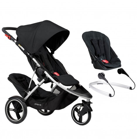 Phil & Teds Dash Tandem Pushchair + Lazyted Bouncer Adaptors - Black