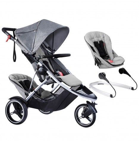 Phil & Teds Dash Tandem Pushchair + Lazyted Bouncer Adaptors - Grey Marl