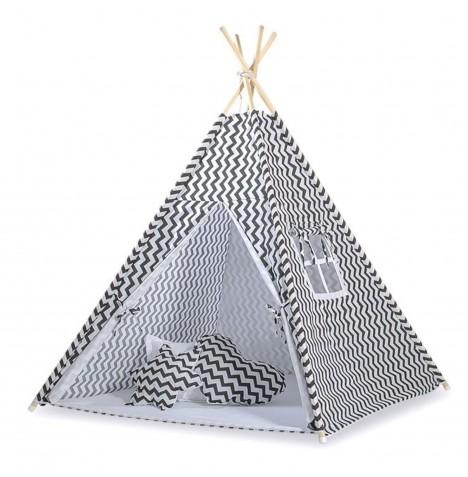 Supreme Baby Large Handmade Kids Teepee / Play Tent & Mat - Chevron Black
